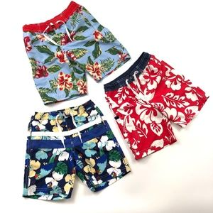 3 Hanna Andersson topical surfer print swim trunks